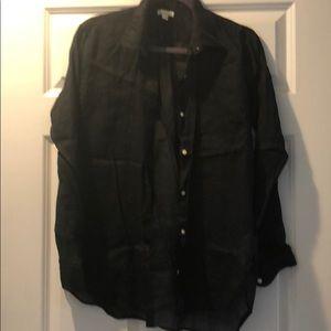 Gap black linen blouse